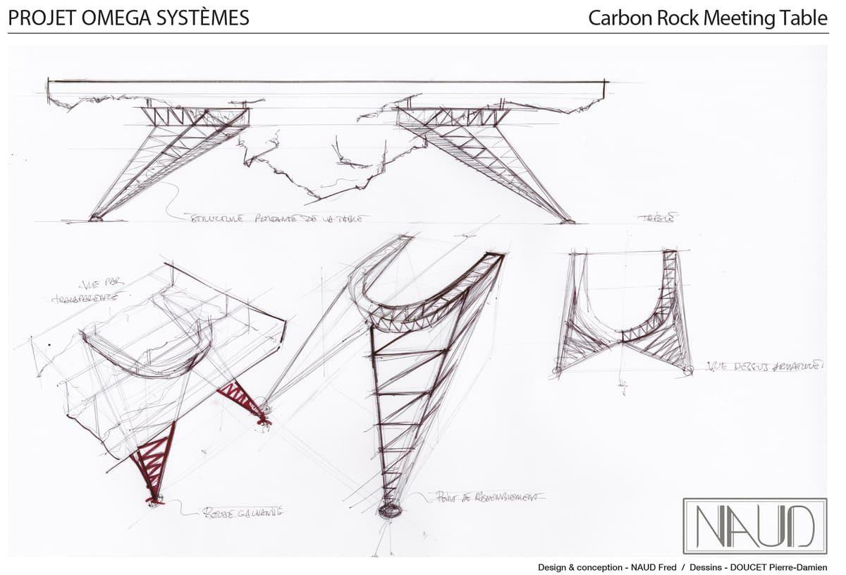 Planche de dessin pour le projet d'une table de réunion