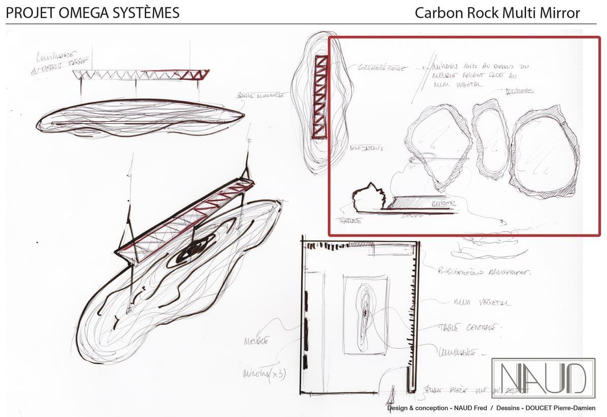 Planche de dessin pour la réalisation d'oeuvres intégrées dans le projet de recyclage de carbon aéronautique avec l'entreprise Web Industries