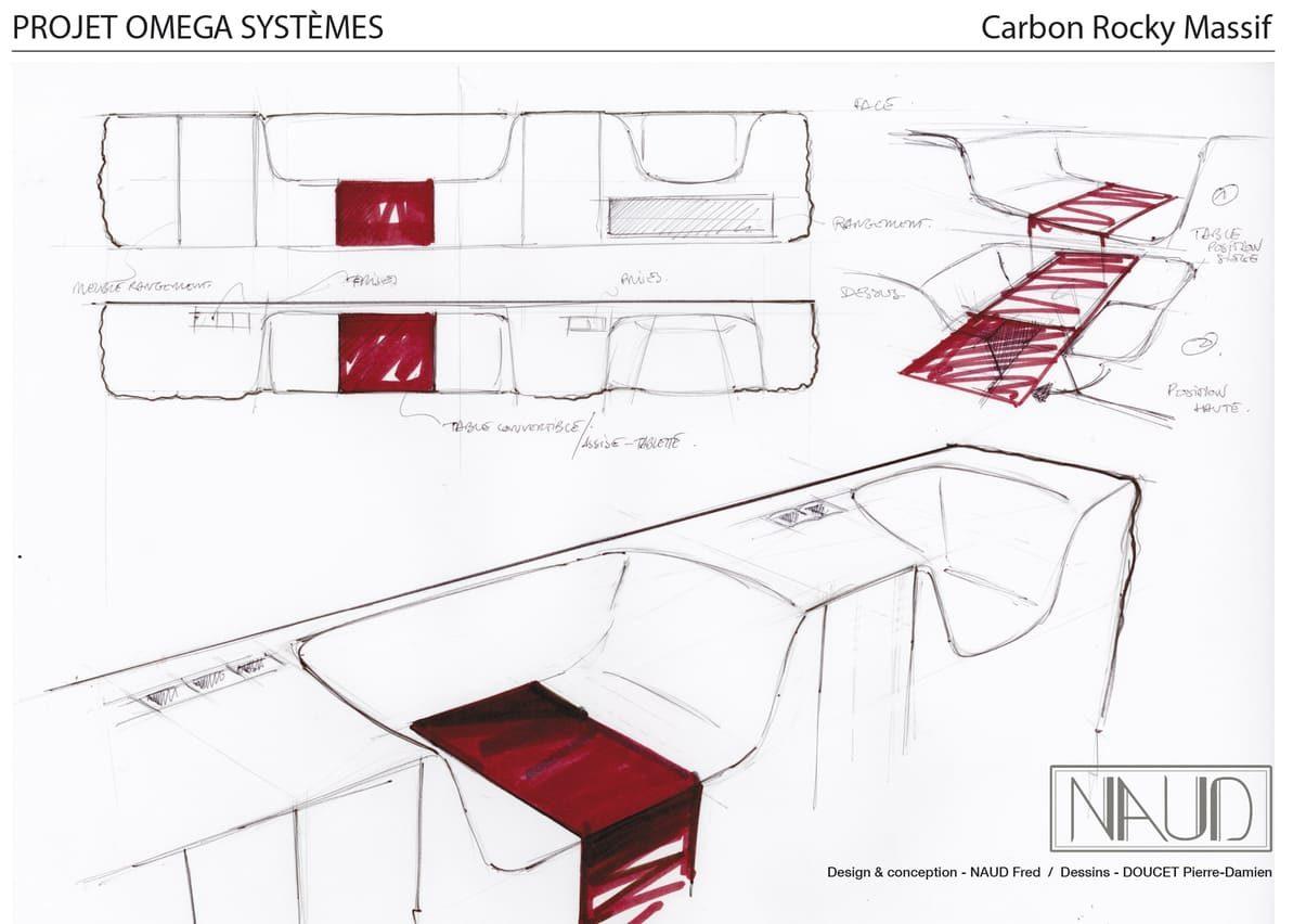 Planche à dessin de présentation d'une enfilade intégrant des espaces de bureau et sièges intégrés